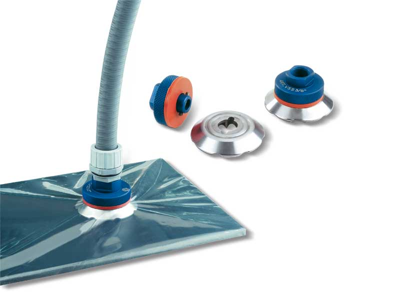Suction valves for vacuum press bags