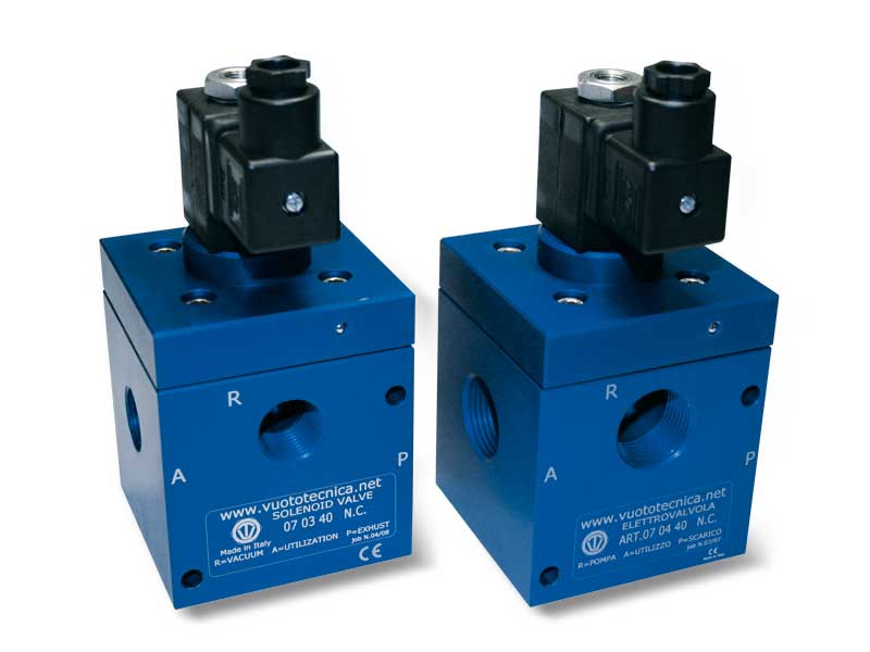 Direct drive 3-way vacuum solenoid valves