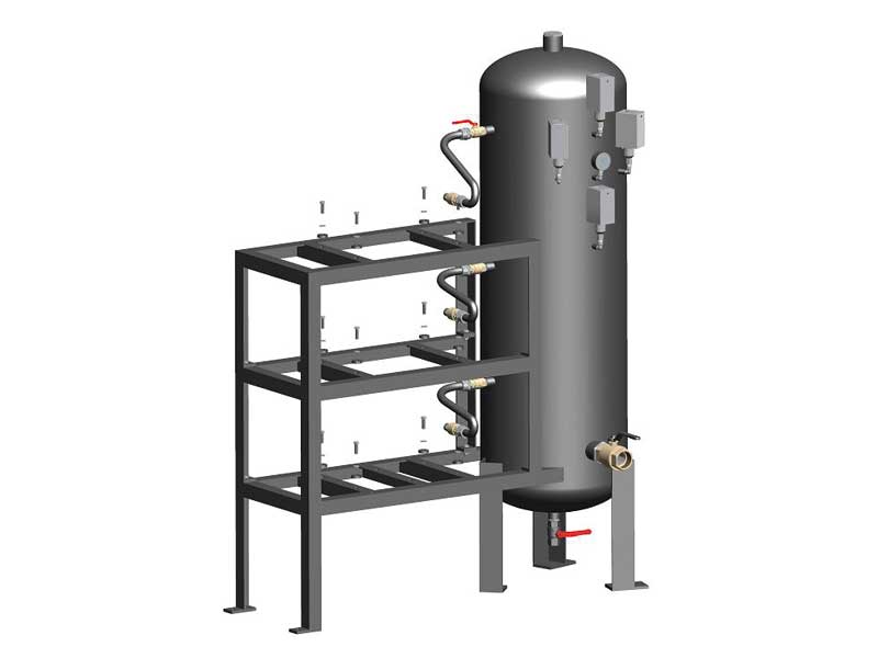 Tanks for vertical safety pumpsets with three vacuum pumps