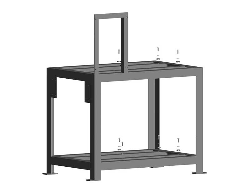Support frames for two vacuum pumps