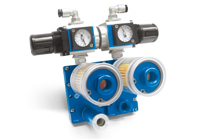Small combined pneumatic suction pumps PA and blowing pumps PS