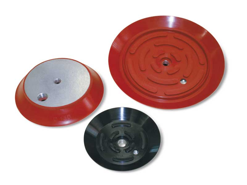 Flat circular cups with vulcanised support