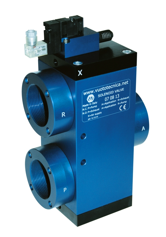 Servo-controlled 3-way vacuum solenoid valves with low absorption electric coil