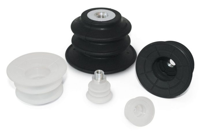 Vacuum cups with two bellows for heavy-duty packaging