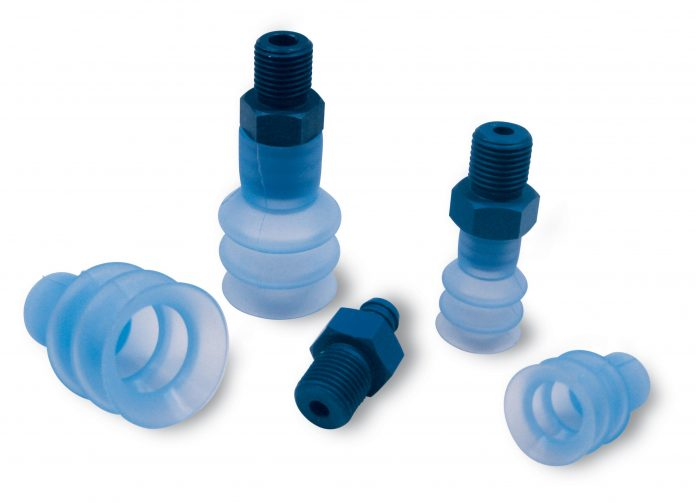 Bellows cups with supports for gripping flow packs