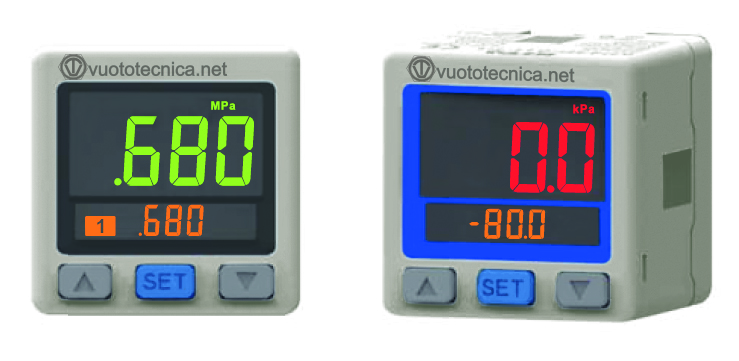 Digital vacuum and pressure switches with two-colour display