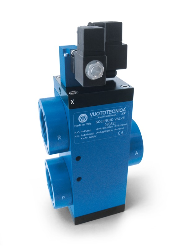Servo-controlled 3-way vacuum solenoid valves with two electric coils for large capacities