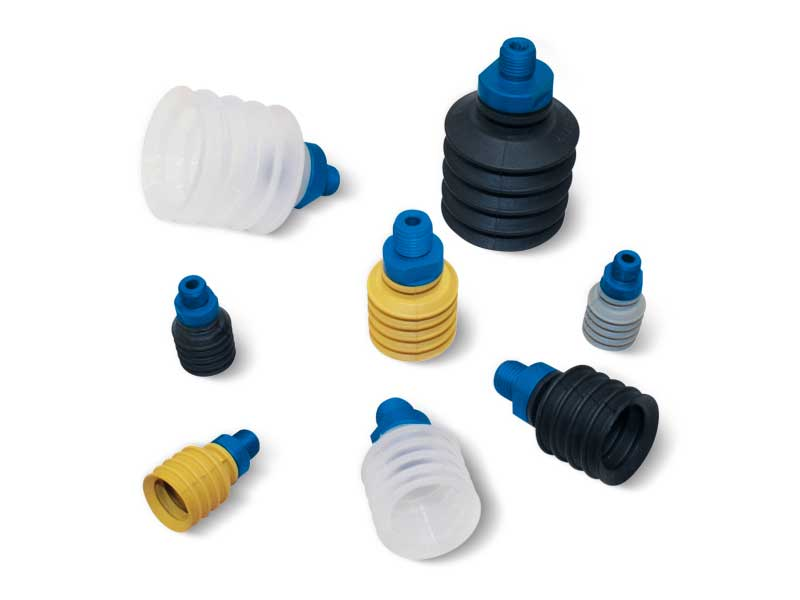 Bellow vacuum cups with male and female supports