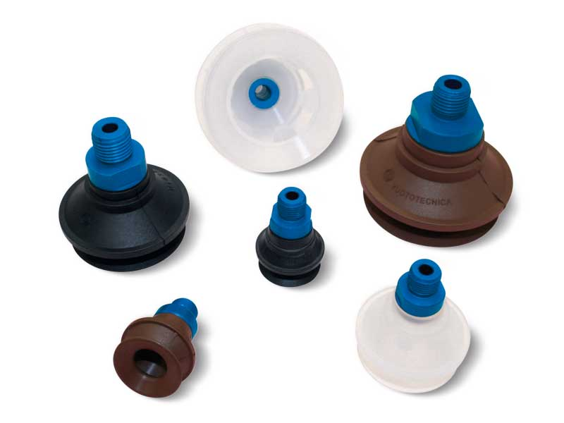 Reinforced bellow vacuum cups with male and female supports