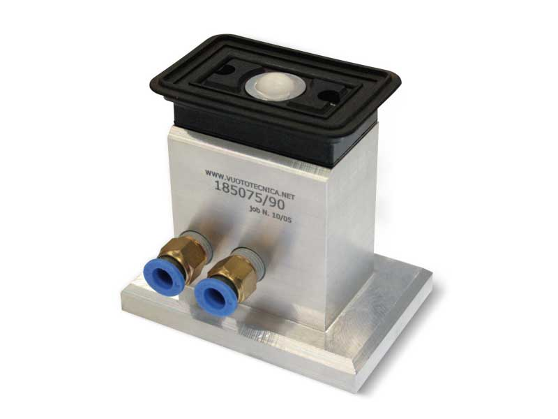 Rectangular vacuum cups with ball valve, self-locking support, for glass