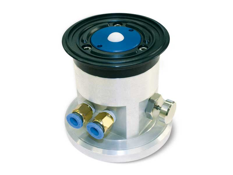 Circular Suction cups with ball valve, self-locking support and release button, for glass